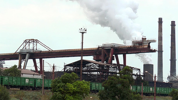 Gantry Crane and Rail Cars at a Steel Plant