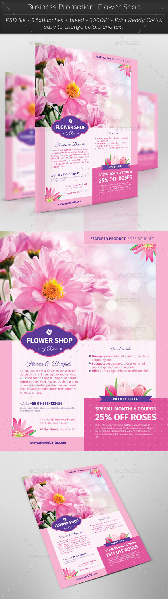 Business Promotion: Flower Shop - Flyers Print Templates