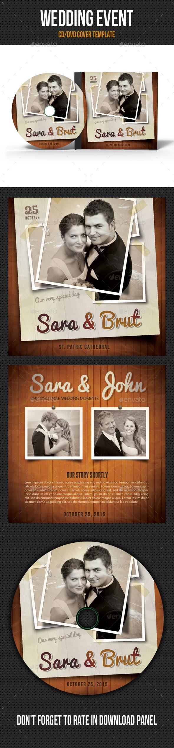 Retro Wedding Event CD Cover V02 - CD & DVD Artwork Print Templates