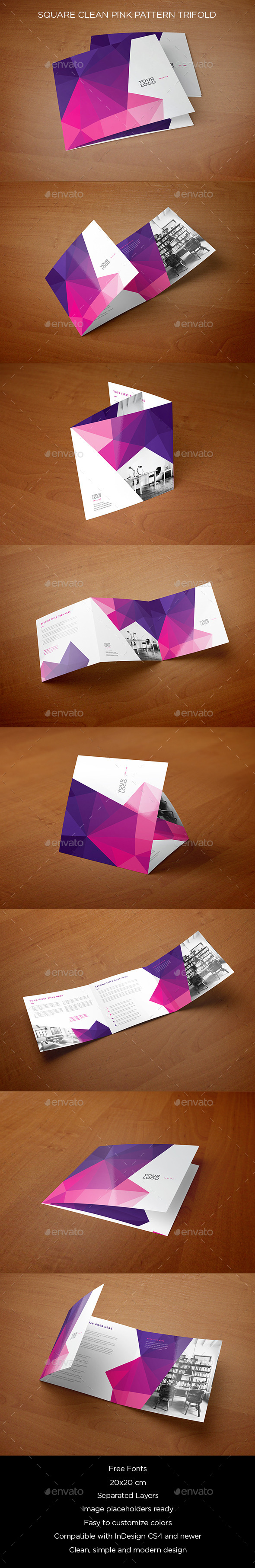 Square Clean Pink Pattern Trifold - Brochures Print Templates