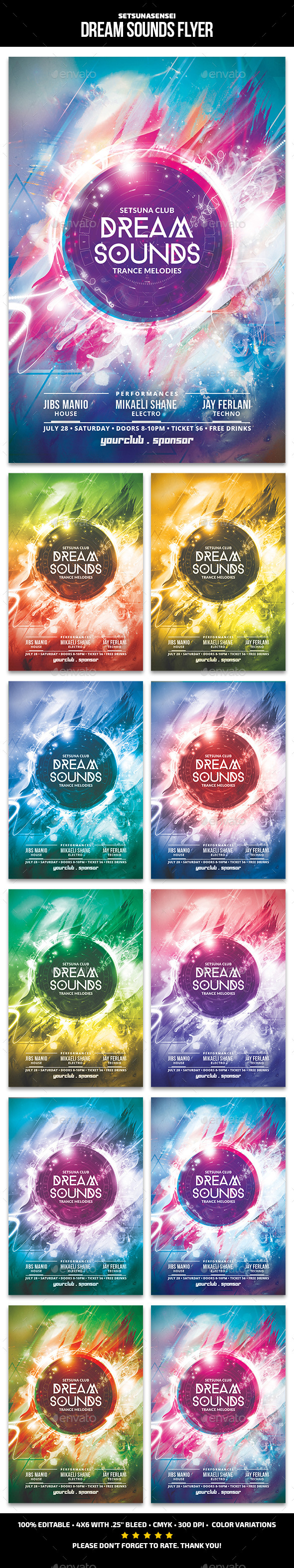Dream Sounds Flyer - Clubs & Parties Events