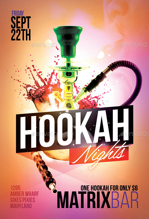 hookah nights party flyer template by flyermarket