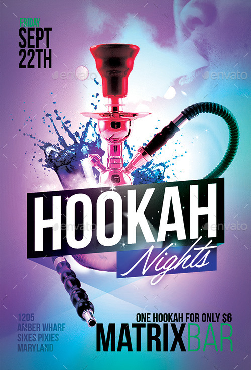 Hookah Nights Party Flyer Template By Flyermarket  Graphicriver