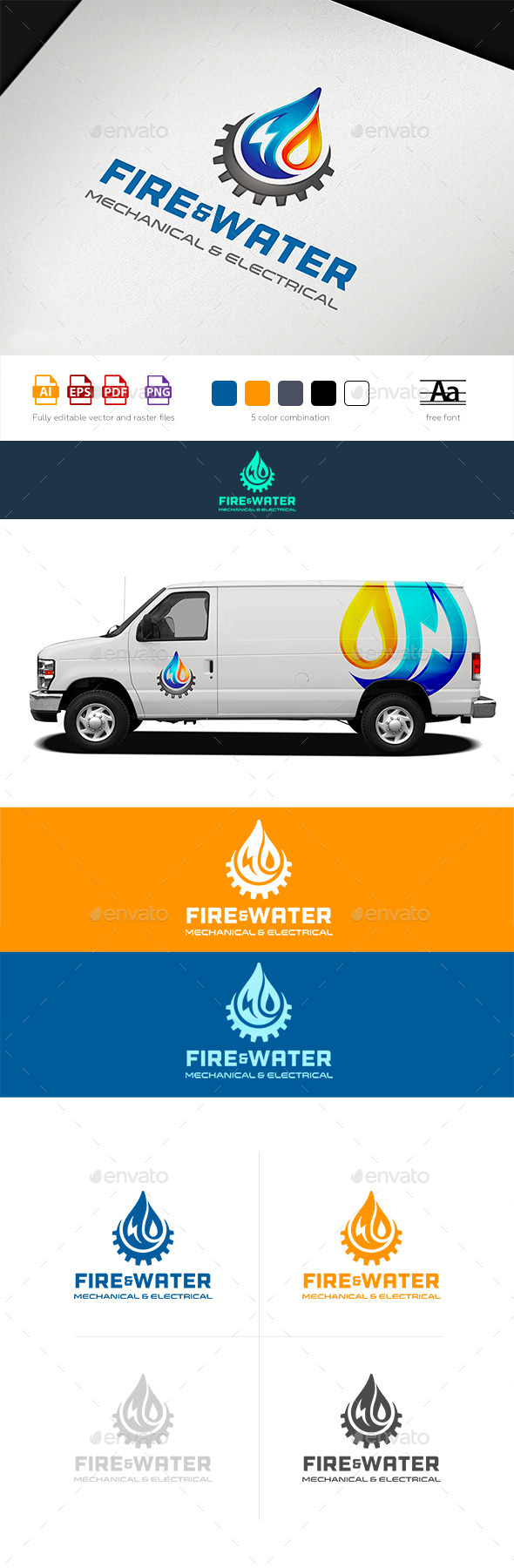 Water Fire Electro HVAC Logo Tamplate - Abstract Logo Templates