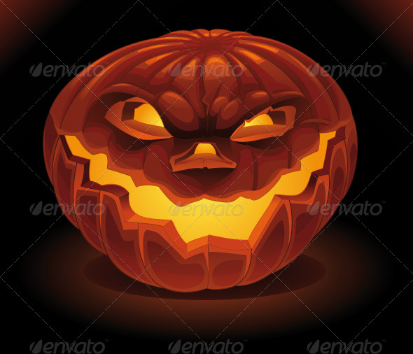 Scary Pumpkin in the Dark. - Halloween Seasons/Holidays