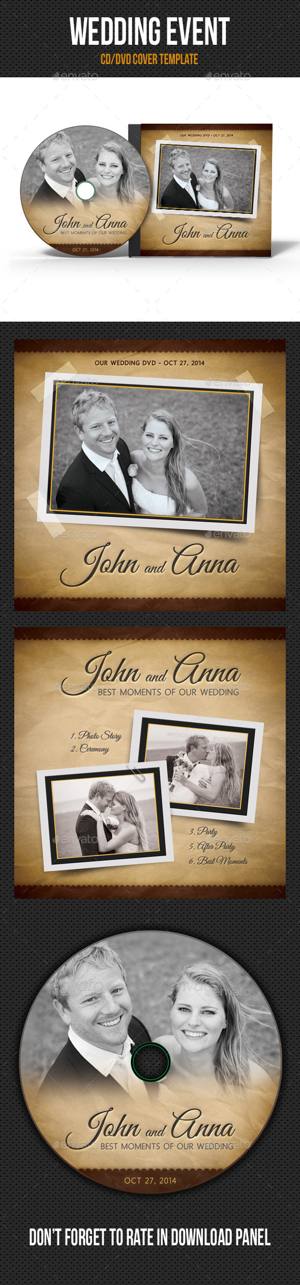 Retro Wedding Event CD Cover V03 - CD & DVD Artwork Print Templates