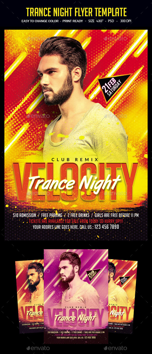 Trance Night Flyer Template - Clubs & Parties Events