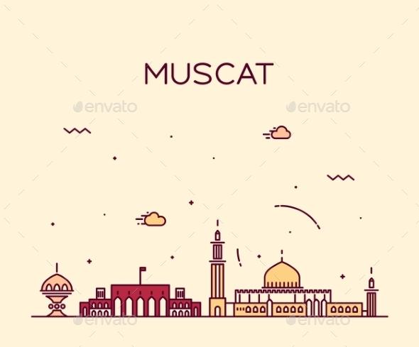 Muscat Skyline Trendy Vector Illustration Linear - Landscapes Nature