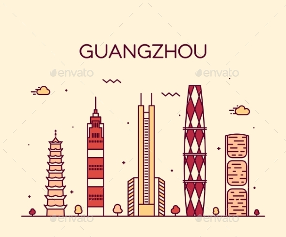 Guangzhou Skyline Vector Illustration Linear - Landscapes Nature