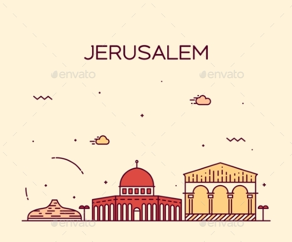 Jerusalem Skyline Trendy Vector Linear Style - Travel Conceptual