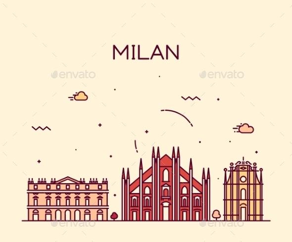 Milan Skyline Trendy Vector Illustration Linear - Decorative Symbols Decorative