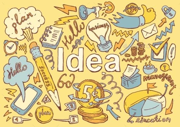 Business Idea Doodles Icon Set Sketch Vector Drawn - Concepts Business