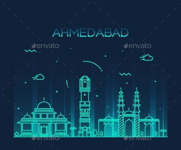 Ahmedabad Skyline Vector Illustration Linear - Landscapes Nature