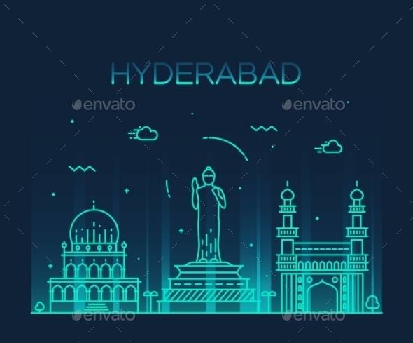 Hyderabad Skyline Vector Illustration Linear