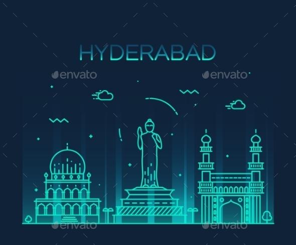 Hyderabad Skyline Vector Illustration Linear - Landscapes Nature