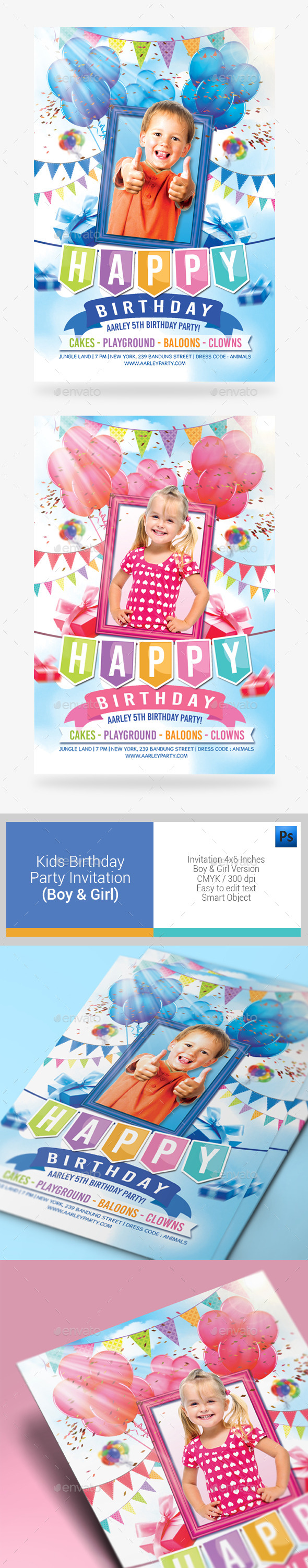 Kids Birthday Party Invitation ( Boy & Girl ) - Birthday Greeting Cards