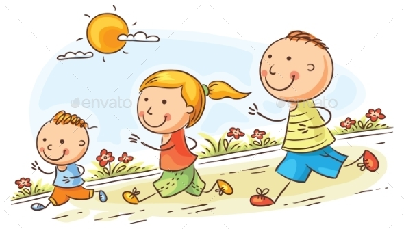 Cartoon Family Jogging Together - Sports/Activity Conceptual