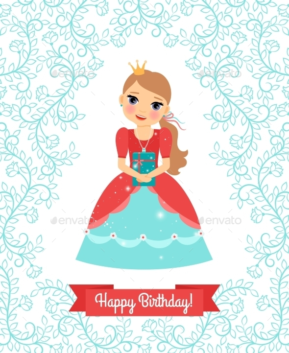 Little Princess Happy Birthday Card - People Characters