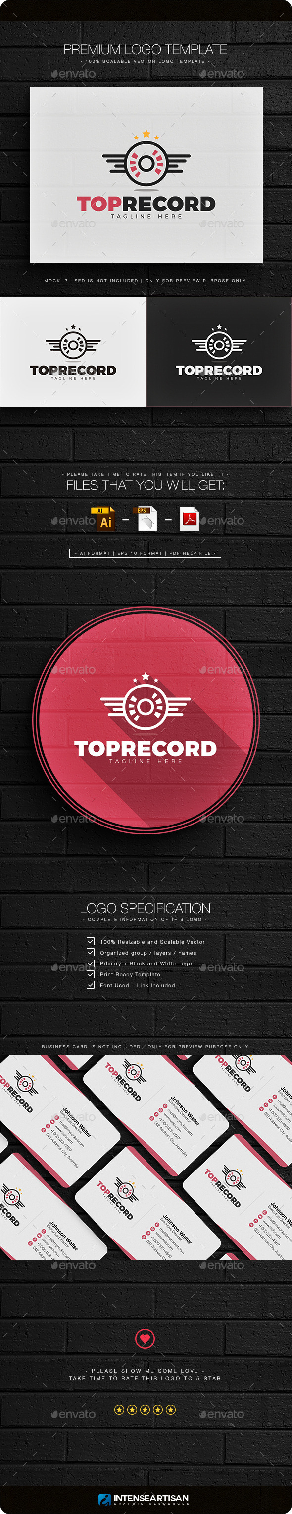 Top Record Logo - Objects Logo Templates