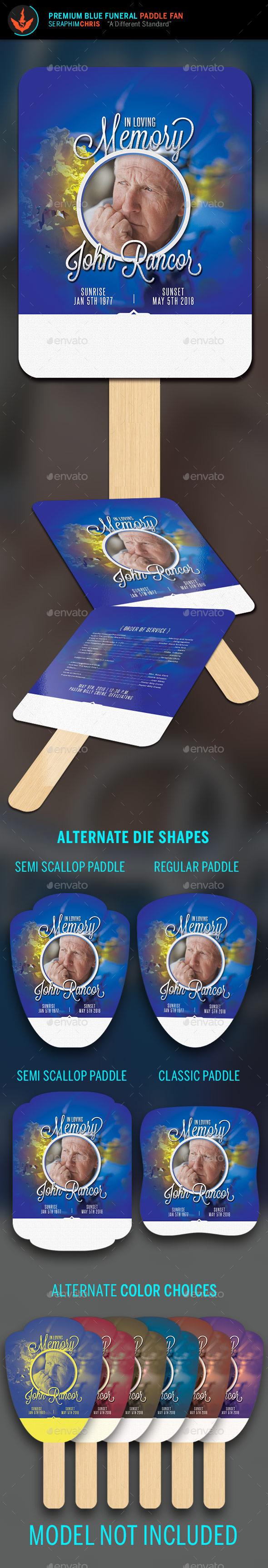 Premium Blue Funeral Paddle Fan Template - Miscellaneous Print Templates