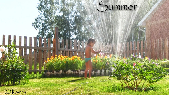 Boy plays with water