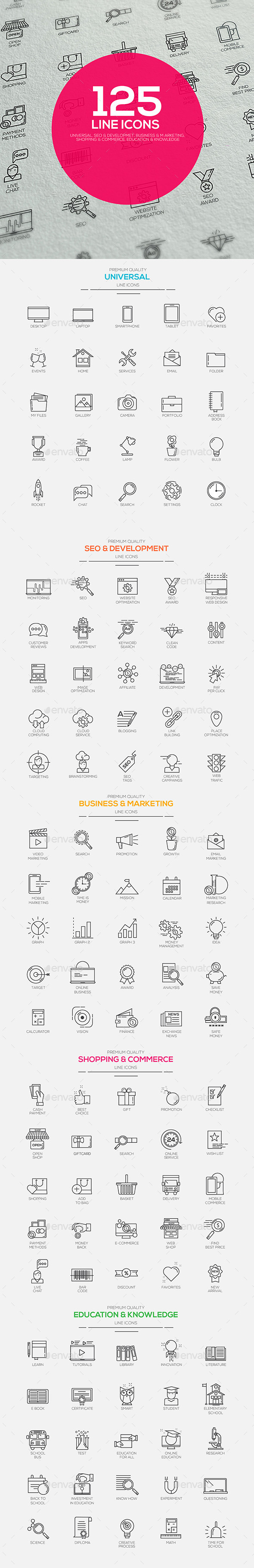 Set of modern flat Line designed icons