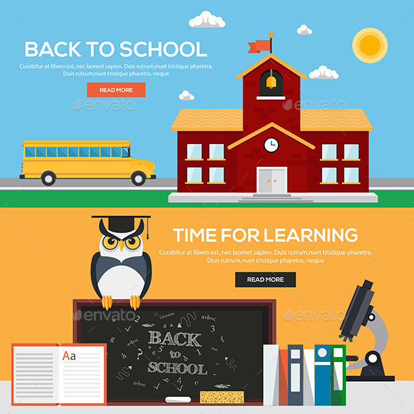 Flat Back to School Banners - Backgrounds Decorative