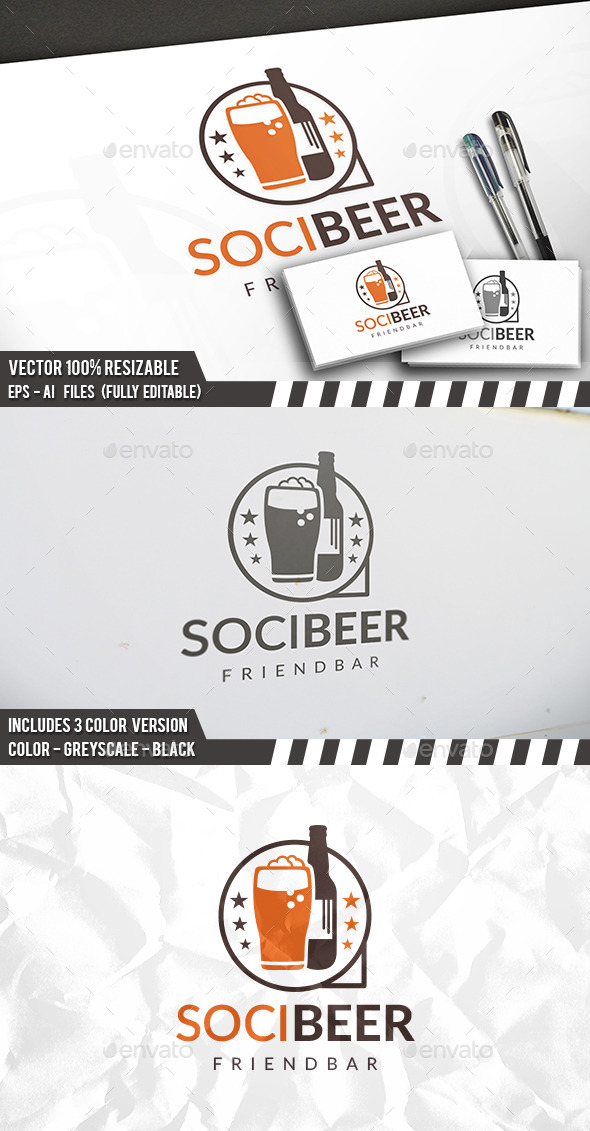 Beer Social Logo - Objects Logo Templates