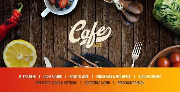 Cafe Art - Bar & Restaurant PSD Template