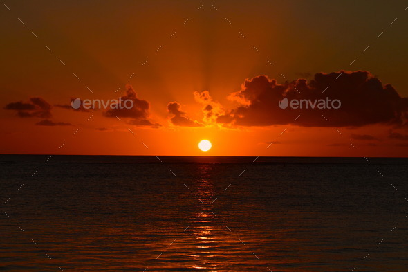 Perfect Mauritian sunset - Stock Photo - Images