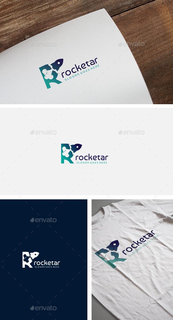 R Rocket Letter Logo