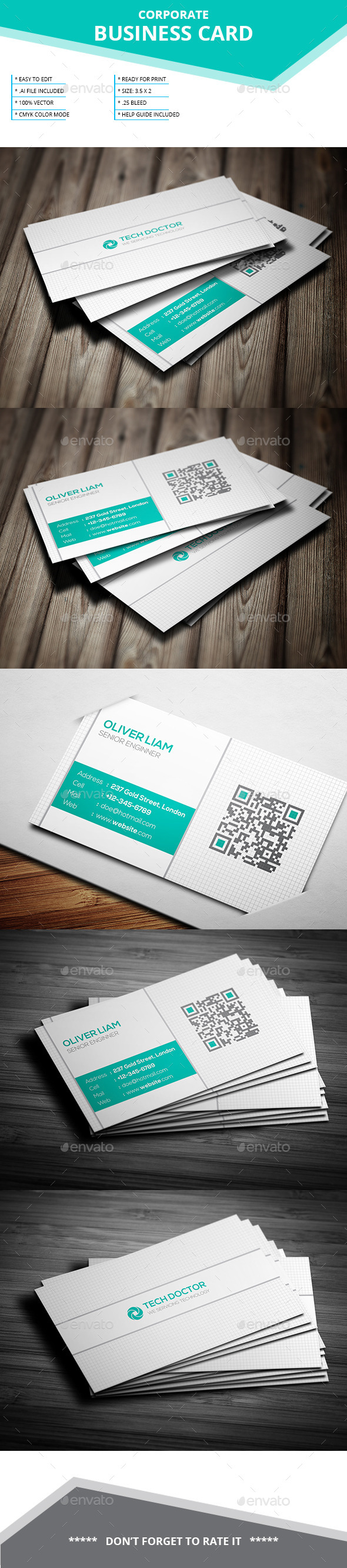 Corporate Business Card _ SL-28 - Business Cards Print Templates