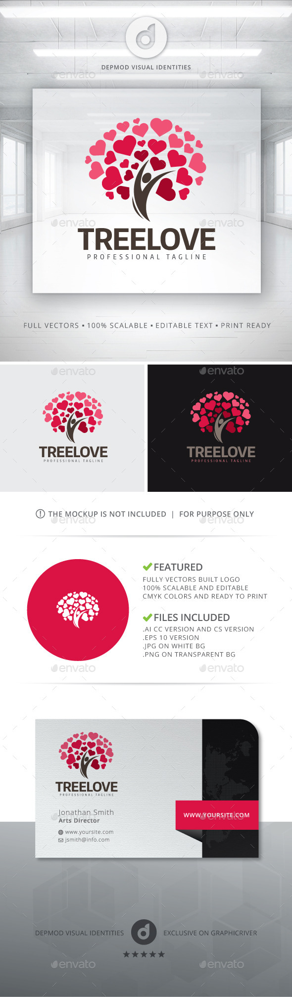 Tree Love Logo - Symbols Logo Templates