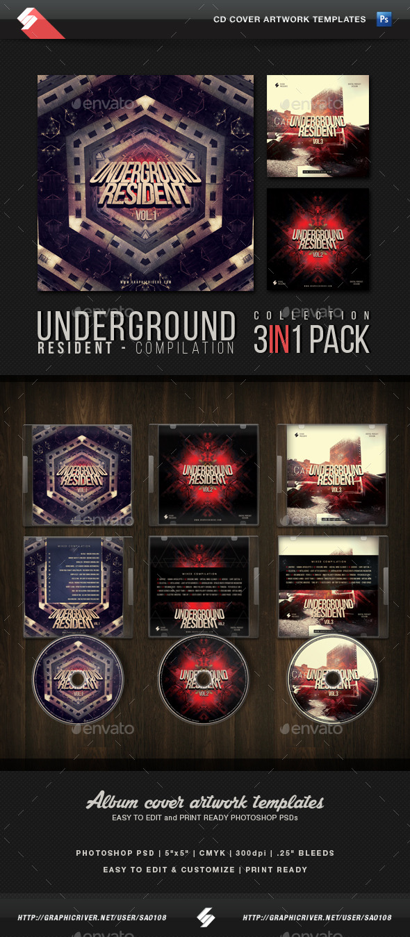 Underground Resident Trilogy - CD Cover Templates - CD & DVD Artwork Print Templates