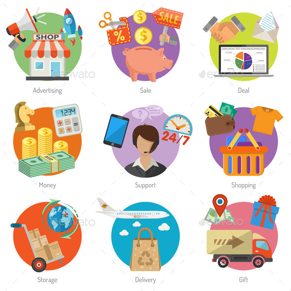 Internet Shopping and Delivery Flat Icon Set - Retail Commercial / Shopping