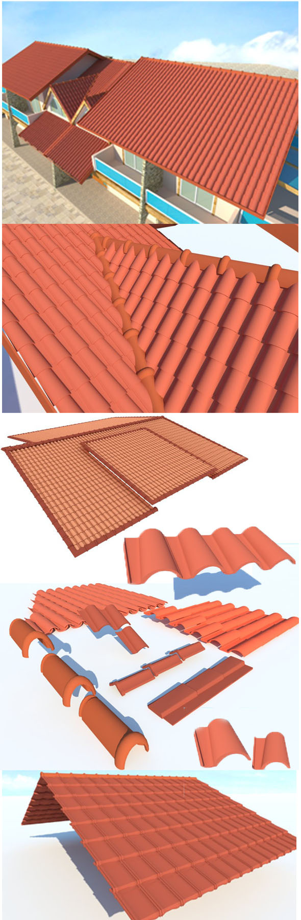 Shingle roof elements - 3DOcean Item for Sale