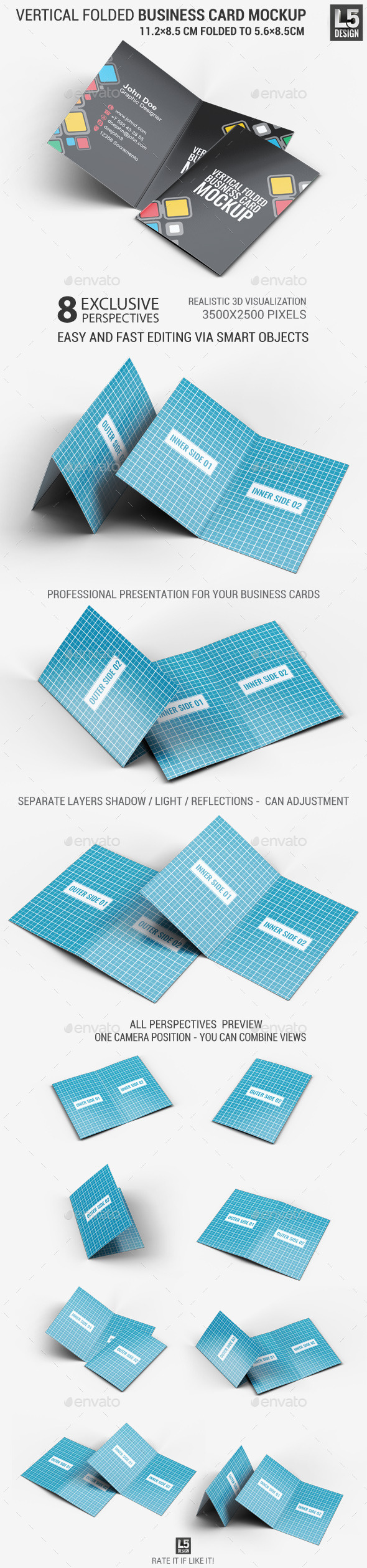 Vertical Folded Business Card Mock-Up - Business Cards Print