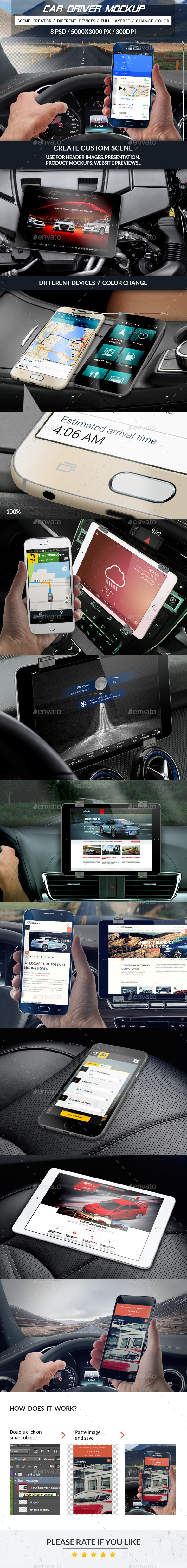Car Driver Mockup - Mobile Displays