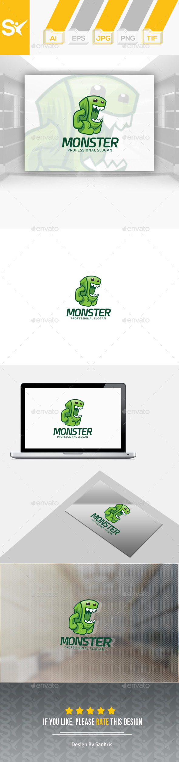 Monster Logo Template - Animals Logo Templates