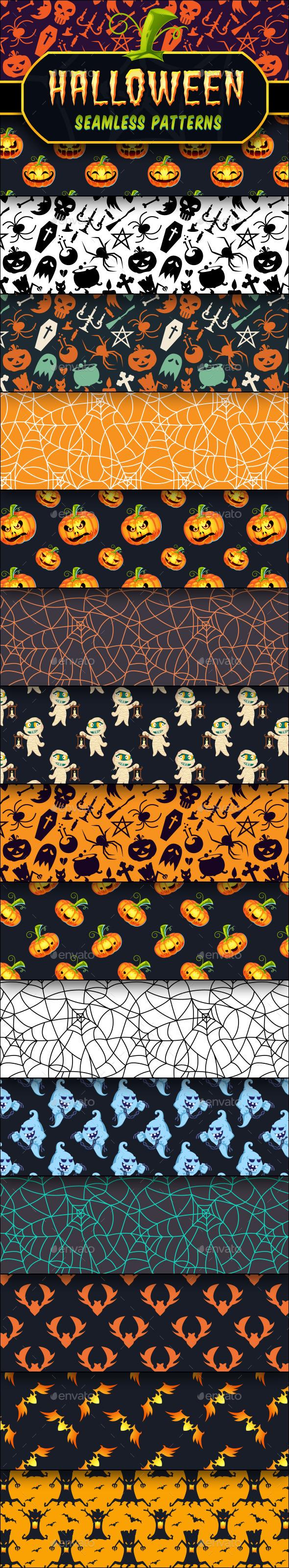 Halloween Seamless Patterns Set - Halloween Seasons/Holidays