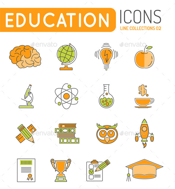 Online Education Thin Lines Color Web Icon Set - Web Elements Vectors