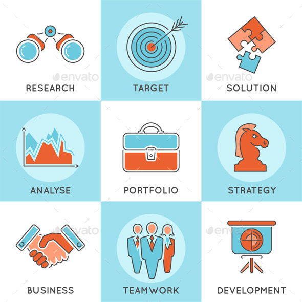 Business Strategy Thin Lines Color Web Icon Set - Concepts Business