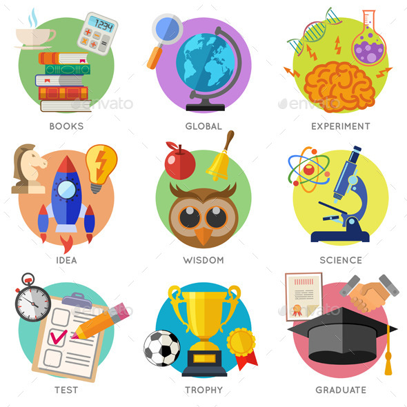 Education Flat Icon Set - Miscellaneous Conceptual