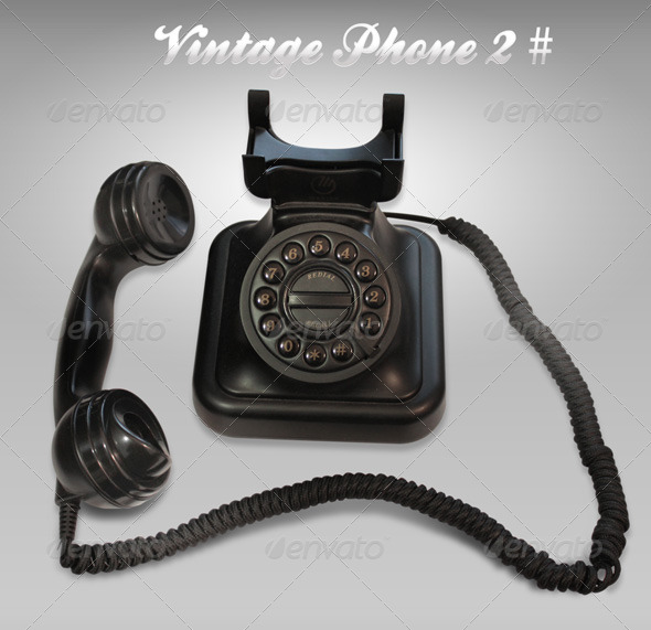 Black Vintage phone 2# - Home & Office Isolated Objects