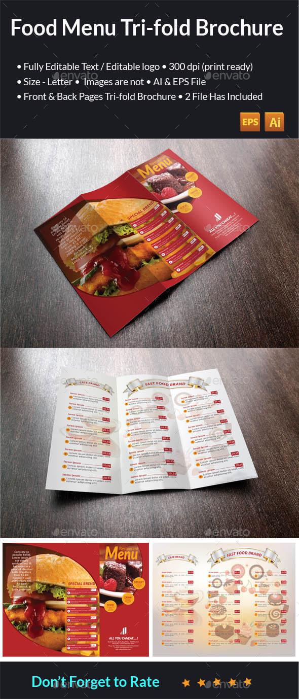 Food Menu Tri-Fold Brochure - Food Menus Print Templates