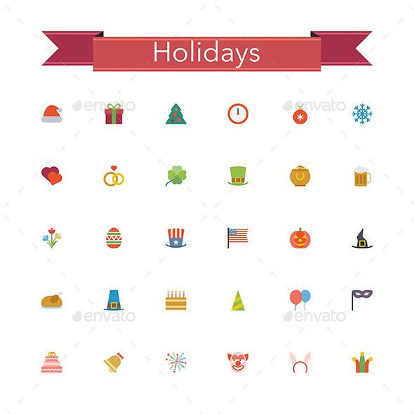Holidays Flat Icons - Seasonal Icons