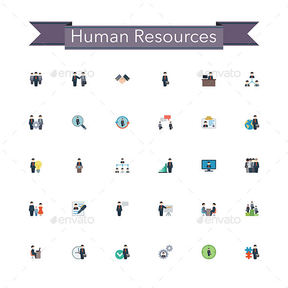 Human Resources Flat Icons - Business Icons