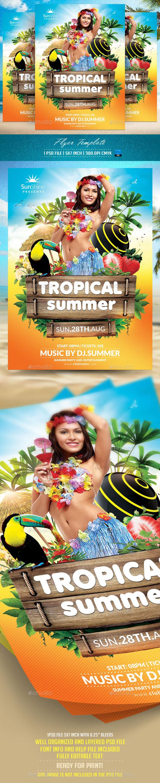 Tropical Summer Flyer Templat - Flyers Print Templates