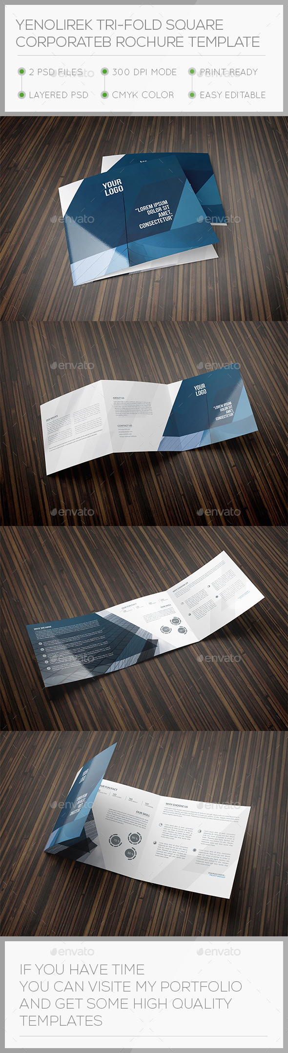 Yenolirek Square Trifold Brochure Template - Brochures Print Templates