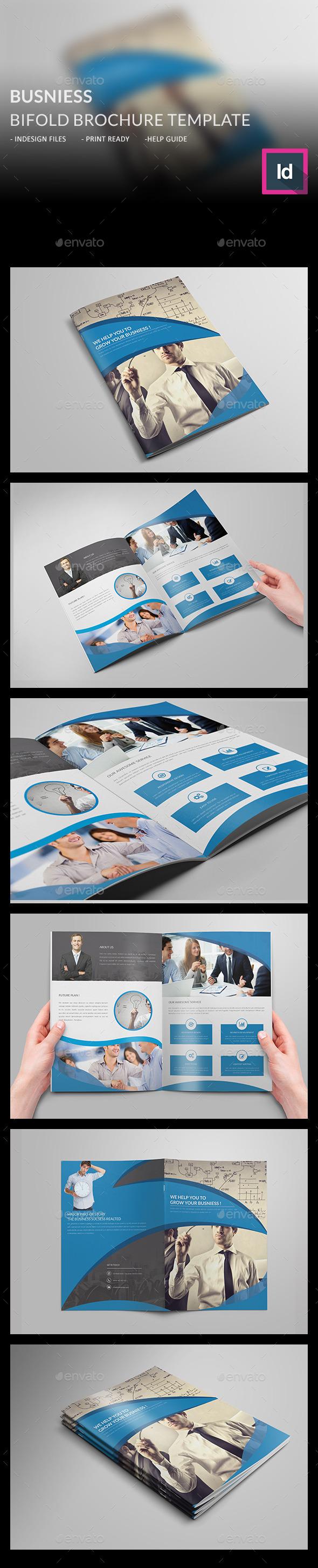 Business Bi-fold Brochure Template - Corporate Brochures